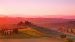 Sunrise over Tuscan Hills. Time Lapse 4K - stock footage