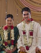Portrait of smiling newlywed Maharashtrian couple smiling together Stock Photos