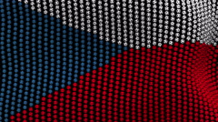 Colored soccer balls forming fabric Czech Republic flag. Black screen. Stock Footage