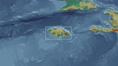 Jamaica - 3D tube zoom (Kavrayskiy VII projection). Relief - stock footage