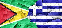 Guyana flag with Greece flag on a grunge cracked wall - stock illustration