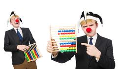 Clown with abacus isolated on white Stock Photos