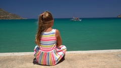Little girl enjoying the view of the Mediterranean sea  Stock Footage