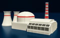 3D Illustration of Nuclear power station Stock Illustration