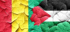 Guinea flag with Palestine flag on a grunge cracked wall Stock Illustration