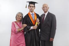 Grandparents at grandson's graduation ceremony Stock Photos