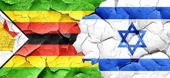 Zimbabwe flag with Israel flag on a grunge cracked wall Piirros