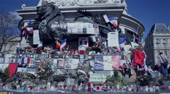 People commemorate in Paris on the place de la republique Stock Footage