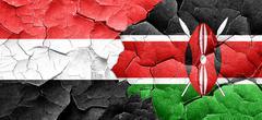 Yemen flag with Kenya flag on a grunge cracked wall - stock illustration