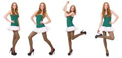Woman in saint patrick clothes isolated on white - stock photo