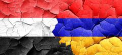 Yemen flag with Armenia flag on a grunge cracked wall Stock Illustration