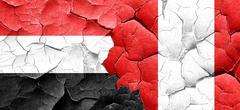 Yemen flag with Peru flag on a grunge cracked wall - stock illustration