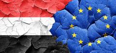 Yemen flag with european union flag on a grunge cracked wall - stock illustration
