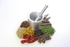 Mortar and pestle with variety of spices over white background Stock Photos