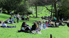 People having a rest in parc des buttes-chaumont in Paris Stock Footage