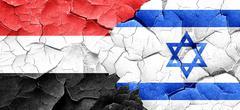 Yemen flag with Israel flag on a grunge cracked wall - stock illustration