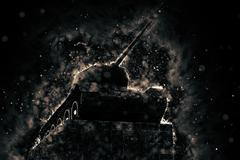 Tank blazing fire. Military conflict Stock Illustration