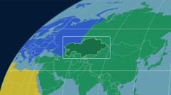 Kazakhstan - 3D tube zoom (Kavrayskiy VII projection). Continents Stock Footage