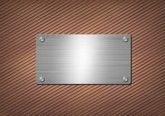 shiny metal plate on the rusty background - stock illustration