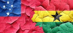Samoa flag with Ghana flag on a grunge cracked wall Piirros
