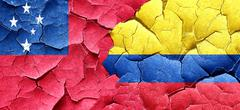 Samoa flag with Colombia flag on a grunge cracked wall - stock illustration