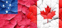 Samoa flag with Canada flag on a grunge cracked wall Stock Illustration
