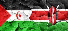 Western sahara flag with Kenya flag on a grunge cracked wall Stock Illustration