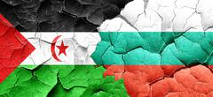 Western sahara flag with Bulgaria flag on a grunge cracked wall Stock Illustration