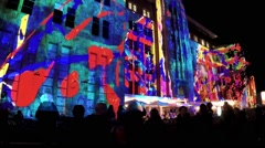 Vivid light show on Sydney's Museum of Contemporary Art. Time Lapse Stock Footage