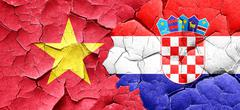 Vietnam flag with Croatia flag on a grunge cracked wall - stock illustration