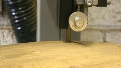 carpenter working with sawing carving sanding piece wood machines cutting - stock footage