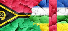 Vanatu flag with Central African Republic flag on a grunge crack - stock illustration