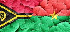 Vanatu flag with Burkina Faso flag on a grunge cracked wall Stock Illustration