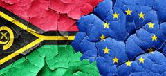 Vanatu flag with european union flag on a grunge cracked wall - stock illustration