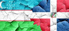 Uzbekistan flag with Dominican Republic flag on a grunge cracked Stock Illustration