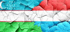 Uzbekistan flag with Luxembourg flag on a grunge cracked wall - stock illustration