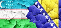 Uzbekistan flag with Bosnia and Herzegovina flag on a grunge cra Stock Illustration