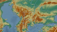 Kosovo - 3D tube zoom (Mollweide projection). Relief Stock Footage
