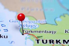 Turkmenbasy pinned on a map of Turkmenistan - stock photo