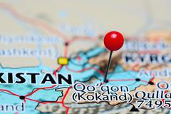 Kokand pinned on a map of Uzbekistan - stock photo