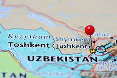 Toshkent pinned on a map of Uzbekistan - stock photo