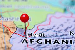 Herat pinned on a map of Afghanistan - stock photo