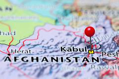 Kabul pinned on a map of Afghanistan - stock photo