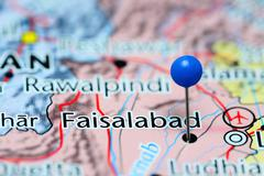Faisalabad pinned on a map of Pakistan - stock photo