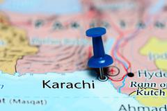 Karachi pinned on a map of Pakistan - stock photo
