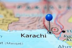 Karachi pinned on a map of Pakistan - stock photo