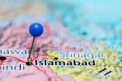 Islamabad pinned on a map of Pakistan - stock photo
