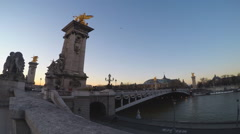 View of the Bridge of Alexander 3 in Paris, France (time-lapse) Stock Footage