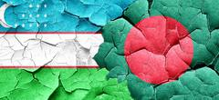 Uzbekistan flag with Bangladesh flag on a grunge cracked wall - stock illustration