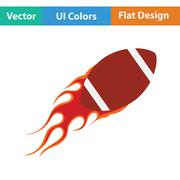 American football fire ball icon Stock Illustration
